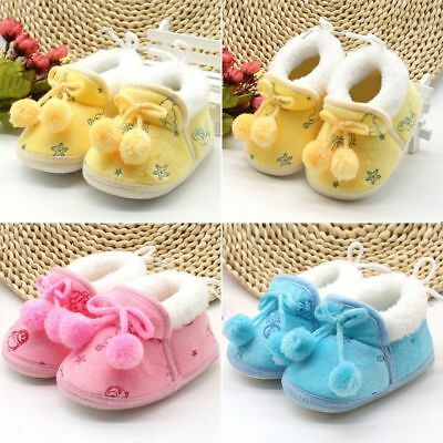 Newborn Baby Kid Girl Bowknot Shoes Infant Winter Warm Soft Sole Shoes Prewalker