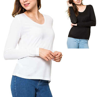 Pieces Damen Langarmshirt Longsleeve T-Shirt Stretch Basic Shirt Longshirt SALE