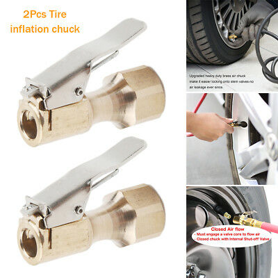 SENZEAL 2x Tyre Valve Connector Brass Open End Flow Clip On Valve Chuck for Inflator 8mm