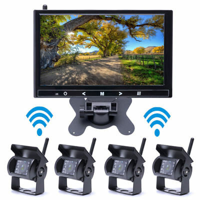 """4 X Wireless Rear View Backup Camera Night Vision + 9"""" Monitor For RV Truck Bus"""