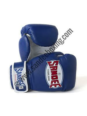 Sandee Authentic Velcro Blue & White Synthetic Leather Kids Thai Boxing Gloves