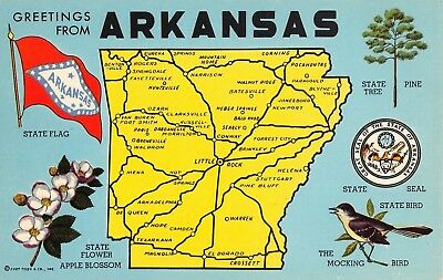 State Map Postcard Greetings From Arkansas Large Letter Chrome AR