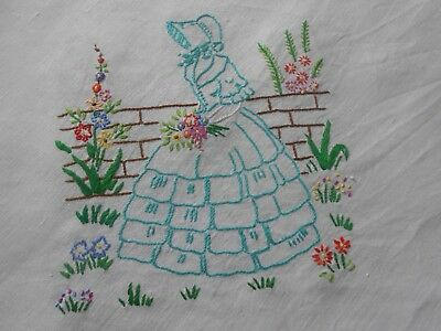 Beautiful Vintage Linen Tablecloth Hand Embroidered With Crinoline Ladies