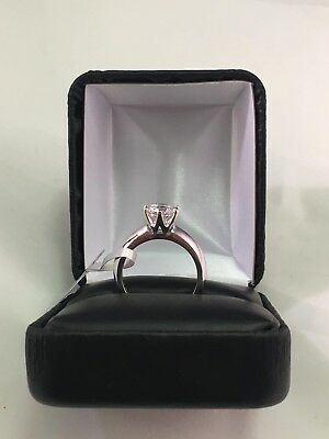1 Ct Round Cut Diamond Solitaire Engagement Ring 14K White Gold Finish