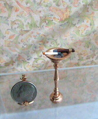 Dollhouse Miniature Metal Pedestal Ashtray with Contents by Taylor Jade
