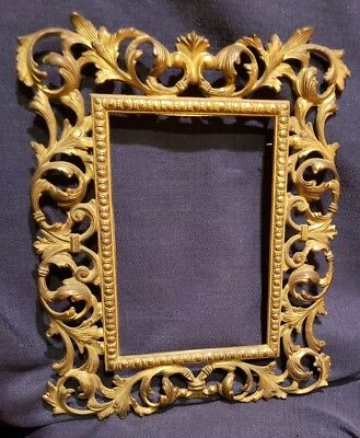 Antique/Vintage Wall Mount Photo Picture Frame Rococo Style Ornate Brass-Plated