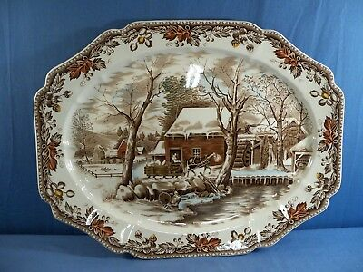 """Huge Johnson Brothers Country Life Platter 20"""" by 16"""" SMALL NICK ON EDGE"""