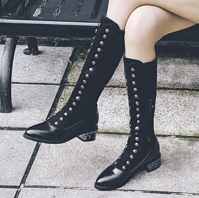 Womens Pointed Toe Rivet Britain Long Full Length Chunky Heels Ankle Boots Ske15