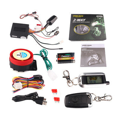 2Way LCD Motorcycle Alarm Security System Remote Control Engine Start Anti-theft