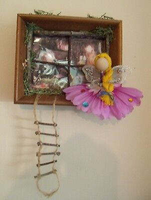 Fairy Garden Window Wall Decor with Fairy and ladder