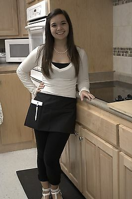 Waitress Waiter Server Black Waist Apron, Spun Poly, 100% American Made