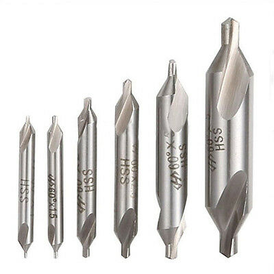 6pcs HSS Center Drill Bits Set Combined Countersinks Kit 60° 1.5/2/2.5/3/4mm Q