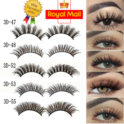3D Mink Eyelashes 1-5 Pairs natural False Fake Long Thick Handmade Lashes Makeup