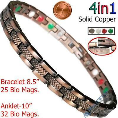 Pure Solid Copper Magnetic Chain Bracelet Anklet Men Women Arthritis  Pc10V