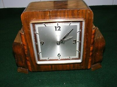 Vintage Art Deco Mantle Clock French 8 Day Brass Lever Movement Square Hardwood