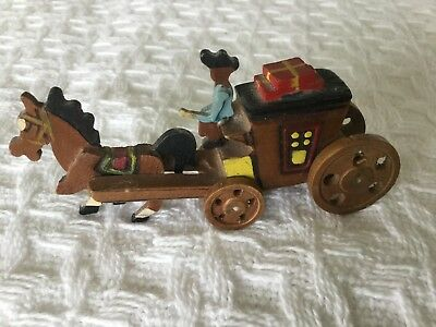 Hand Carved Miniature Wood Horse and Carriage.Collectible Knick Knack-REDUCED