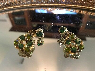 Vintage Gold, And Two Tone Green Gem Earrings