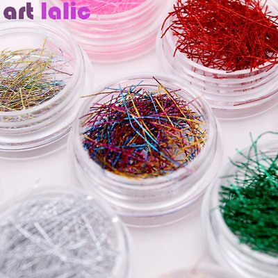 12 Colors Metallic Colorful Line String Roll Glitter Extra Fine DIY Nail Art Set