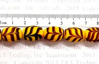 Amber Combed Feather Antique Trade Beads  9 Pc       TT258   Fancy