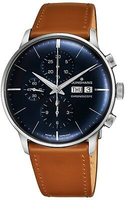 Junghans Men's Meister Chronoscope Leather Strap Self-Winding Watch 027/4526.01