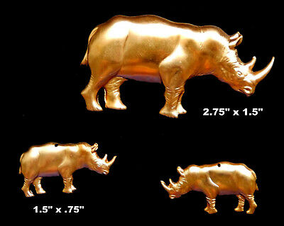 Vintage Brass Stampings Raw Brass /  Rhino /  Large (1 Pc.) and Small (1 Pair)