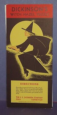 """""""near Mint"""" 1938 Witch Puzzle-Advertising For Dickinson's Witch Hazel Also"""