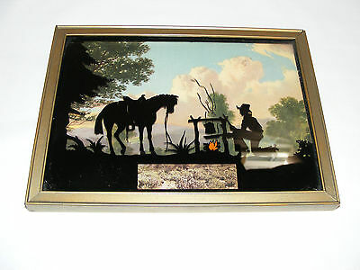 Vintage Art Deco Reverse Painted On Glass Silhouette Picture