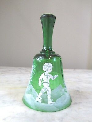 """Vintage 5.5"""" Green Mary Gregory Hand Painted Crystal Green Glass Bell"""