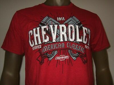Men's M-L Red American Classic GM Chevrolet Chevy Pistons 1911 Parts Tee Shirt