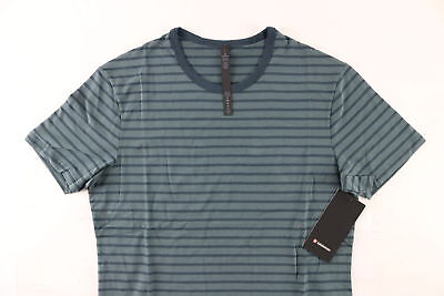 NWT $58 Lululemon Men's Dark Green Striped Pima Cotton Blend Shirt Size Large