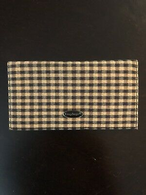 Longaberger  Khaki Checked Checkbook Cover- New