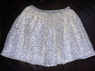 EUC The Childrens Place Girls White Gold Silver Sequin Tutu Tulle Skirt XL 14