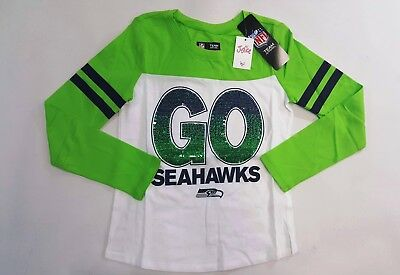 8482aad7a NWT Justice Kids Girls Size 7 16 or 18 Seattle Seahawks Football Sequin  Shirt