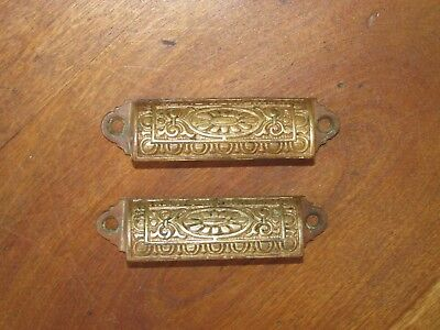 2 Matching Ornate Antique Eastlake Victorian Cast Iron Bin Pulls