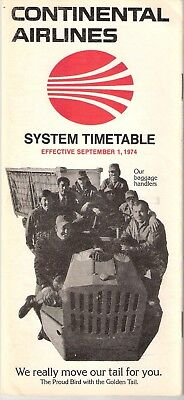 Continental Airlines System Timetable September 1, 1974 Good Condition