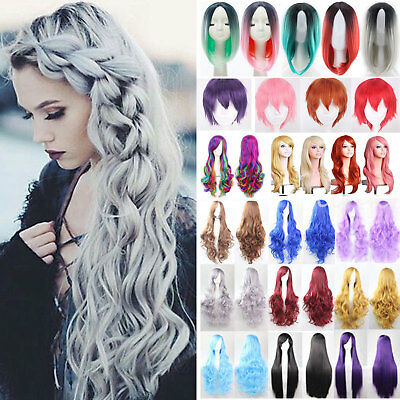 Womens Lady Long Hair Wig Curly Wavy Synthetic Anime Cosplay Party Full Wigs  US a87979df89