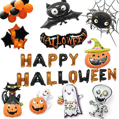 Carnival Halloween Pumpkin Foil Balloons Happy Haunted House Party Bar Decor