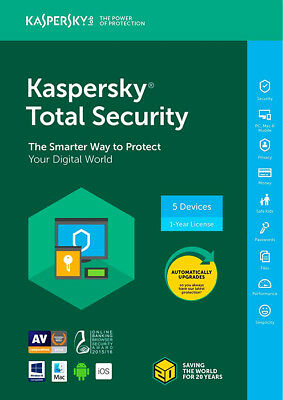 Kaspersky Total Security 2019 I 5 DevicesI 1 Year I Product Key Card