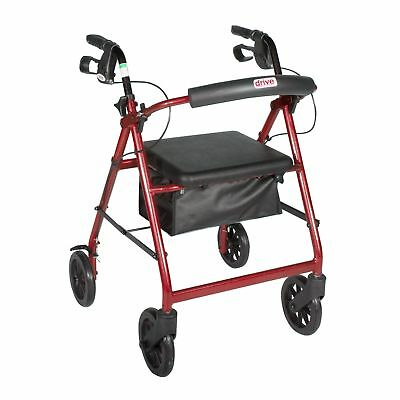 Drive Medical Rollator Walker Adult Senior 8'' Wheels 300 lbs RED #R728RD *NEW*
