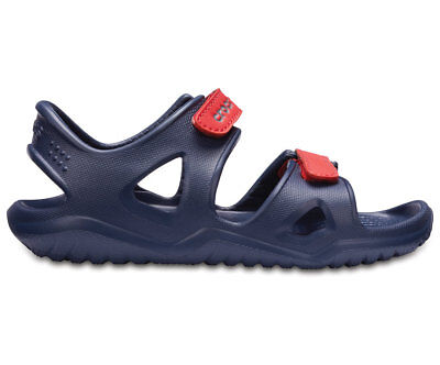 NEW Genuine Crocs Boys Swiftwater River Sandal Navy/Flame