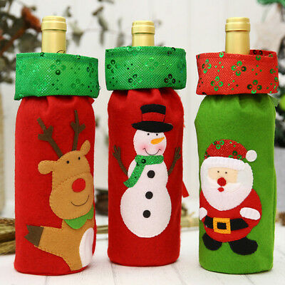 Happy Christmas Wine Bottle Cover Bags Decoration Home Party Santa Claus Xmas