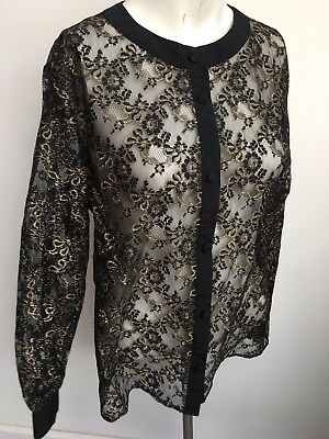 Vintage 1990's black gold lace sheer Shirt Ladies blouse shirt party size Large