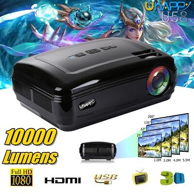 10000 Lumens HD 1080P Projector 3D Home Cinema Theater Multimedia USB/VGA Black