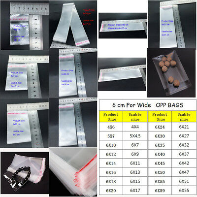 16 size  Resealable Poly Bag Transparent Opp Bag Plastic Bags Self Adhesive Seal