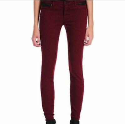 85bd0c1615b9 $88 BLANK NYC Skinny Black Burgundy Red Jeans Leopard Print Faux Leather  Size 30