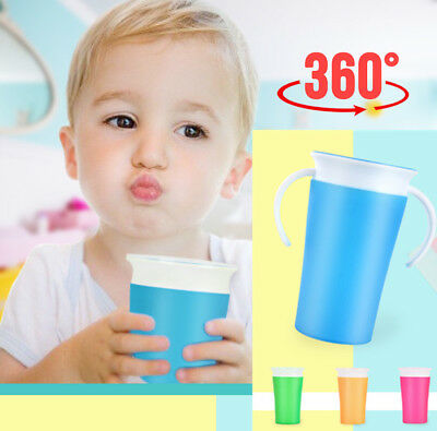 260Ml Leak-Proof Baby Kids Toddler Learning Drinking Water Cup Bottle 2 Handle