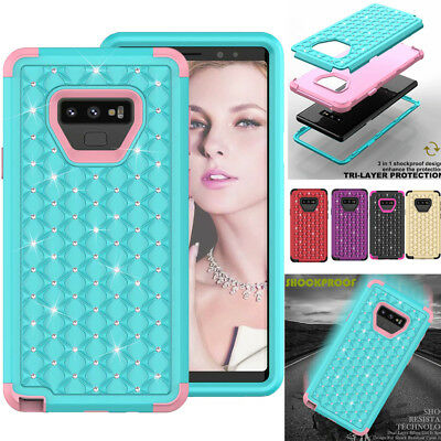 For Samsung Galaxy Note9 S9 3D Bling Diamond Shockproof Rugged Rubber Case Cover