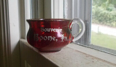 Souvenir Boone,iowa Ruby Red Stained Glass Miniature Chamber Pot Thunder Mug