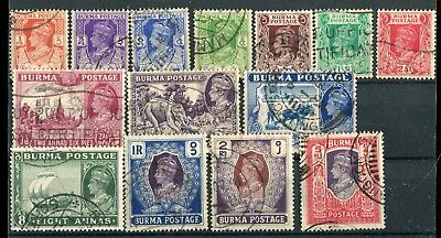 Burma 1938-40 short broken set to 5r SG18b//32 used