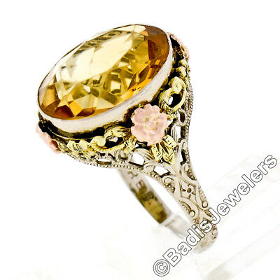 Antique Art Deco 14K White Rose Green Gold Oval Citrine Solitaire Filigree Ring